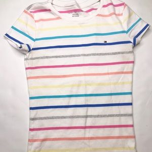 Tommy Hilfiger rainbow striped T-shirt top size XS